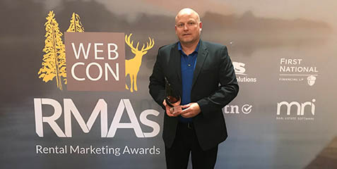 James Malcolm photod with Rental Marketing Award